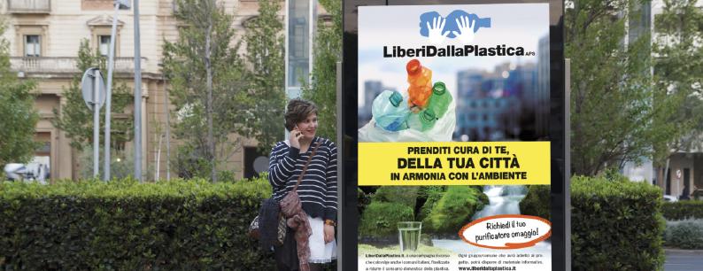 Pubblicità delle iniziative di Liberi dalla plastica